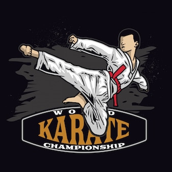 Karate kid kick in die luft