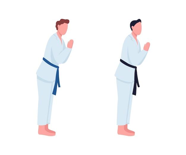 Karate studenten flache farbe gesichtslosen zeichensatz. profisportler mit schwarzem gürtel. kampfkunstklasse isolierte karikaturillustration für webgrafikdesign und animationssammlung