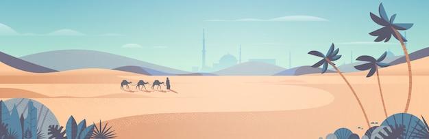 Karawane der kamele, die durch wüste eid mubarak grußkarte ramadan kareem vorlage arabische landschaft horizontale illustration gehen