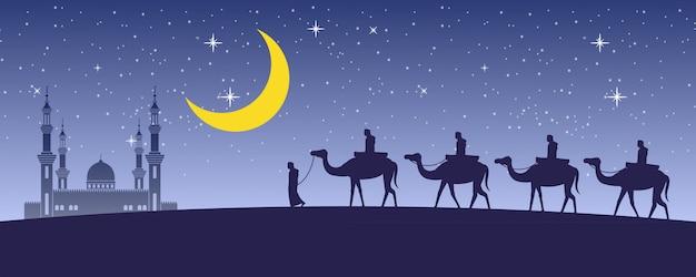 Karawanenmuslim reiten kamel zur moschee
