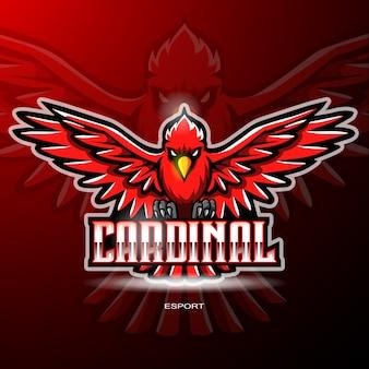 Kardinal vogel maskottchen für gaming logo