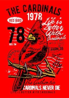 Kardinal vogel, vintage illustration poster.