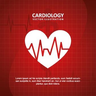 Kardiologiedesign über blauer hintergrundvektorillustration