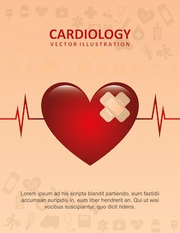 Kardiologiedesign über rosa hintergrundvektorillustration