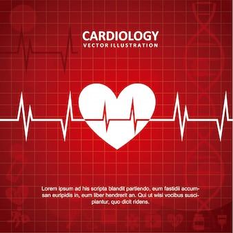 Kardiologiedesign über roter hintergrundvektorillustration