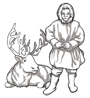 Karibu-hirsche und indigene völker nordrusslands vintage schwarz-weiß-zeichnung vektor-illustration ...