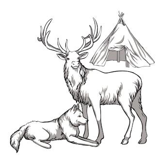 Karibu und indigene völker des nordens russlands husky-hunde vintage schwarz-weiß-zeichnung vec ...