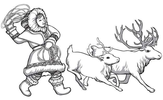 Karibuhirsche und indigene völker nordrusslands. vintage schwarz-weiß-zeichnung. vektor-illustration. natur und mensch.