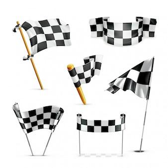Karierte flaggen gesetzt