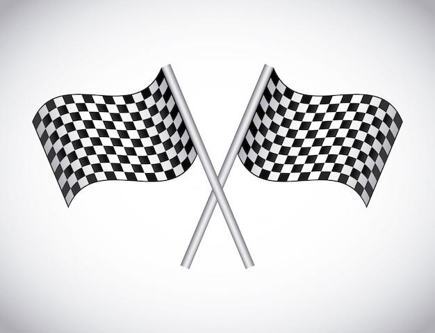 Karierte flaggen über grauer hintergrundvektorillustration