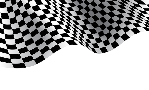Karierte flaggenwelle auf weißem hintergrund für sportrennenmeisterschaft Premium Vektoren