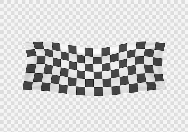 Karierte rennen wehende banner gewellte schwarz-weiße flaggen hintergrund karierte flagge vektor