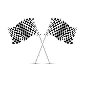 Karierter rennflaggensport. auto-rallye-wettbewerb. zielflagge für geschwindigkeit und zielsieger.
