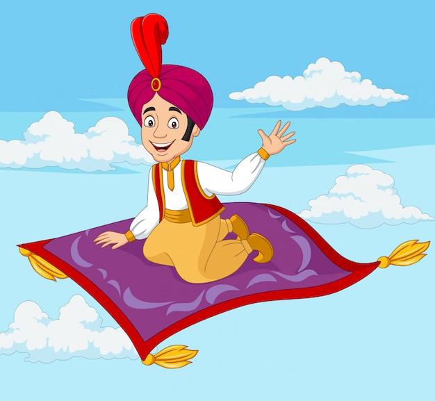 Karikatur-aladdin, der auf fliegendem teppich reist