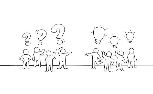 Karikatur arbeitende kleine leute mit denkenden zeichen. handgemalt