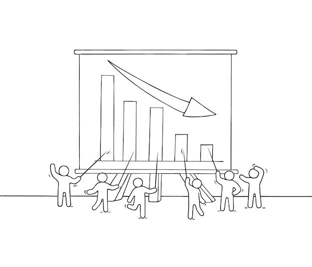 Karikatur arbeitende kleine leute mit großer tafel. handgemalt
