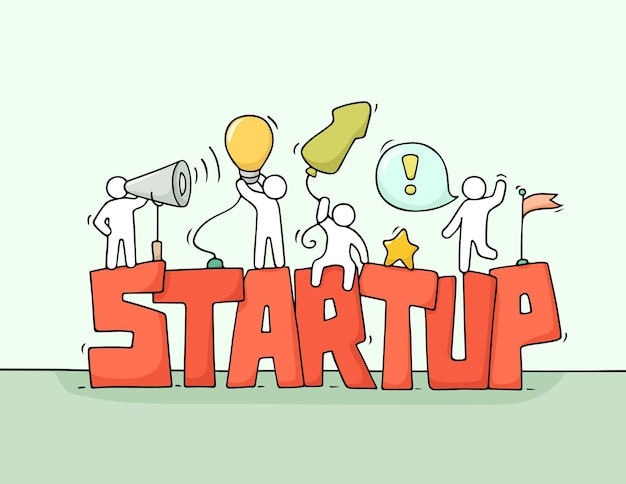 Karikatur arbeitende kleine leute mit wort startup. kritzeln sie niedliche miniaturszene der arbeiter über kreativität. hand gezeichnete karikaturillustration