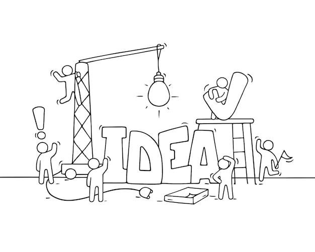 Karikatur arbeitende kleine leute mit wortidee. kritzeln sie niedliche miniaturszene der arbeiter über kreativität. hand gezeichnete karikaturillustration
