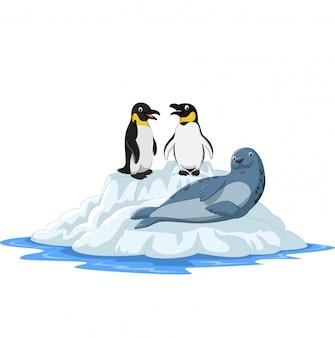 Karikatur arctics tiere auf eisscholle