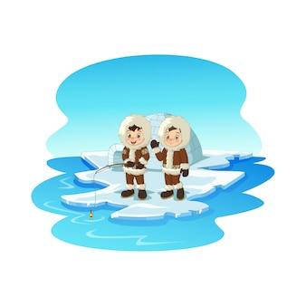Karikatur arktische eskimokinder, die auf eisscholle fischen
