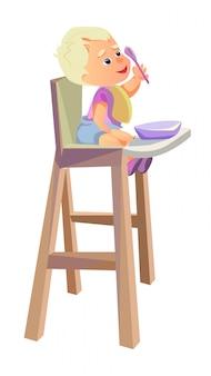 Karikatur-baby, das in der hand im hochstuhl-löffel sitzt
