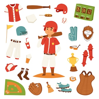 Karikatur-baseballspieler mit fledermaus- und elementvektorentwurf