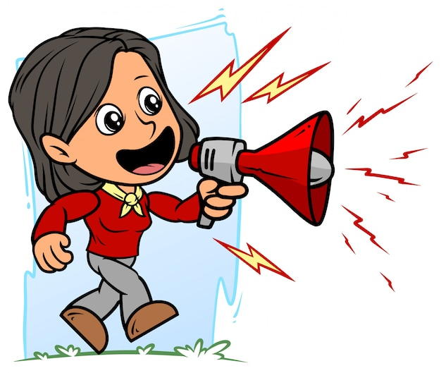 Karikatur brünette mädchenfigur mit rotem megaphon