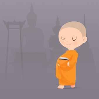 Karikatur buddhistischer mönch von südostasien. erhalten sie essensangebote. illustration.