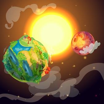 Karikatur bunte erdplanetenschablone