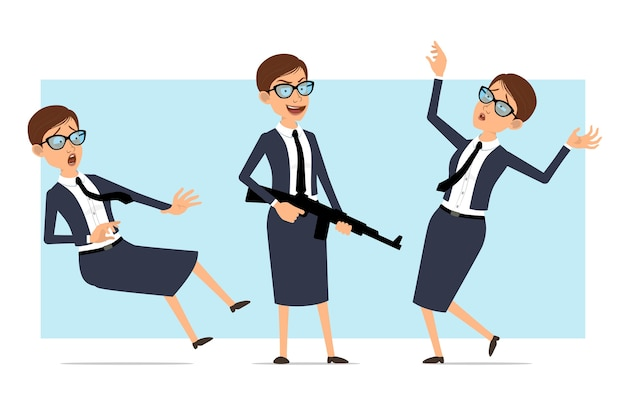 Karikatur business coach frau charakter haltungen