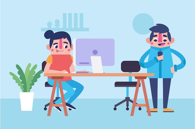 Karikatur coworking space illustration