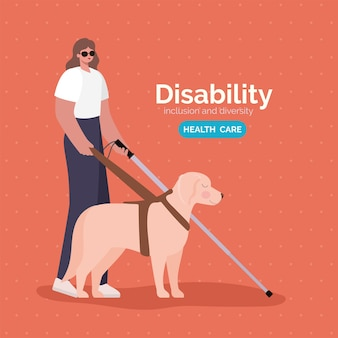 Karikatur der blinden frau der behinderung mit stock und hund des einschlussvielfalt- und gesundheitsthemas.