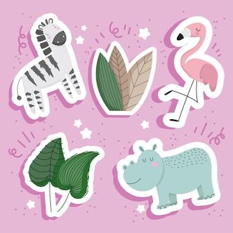 Karikatur der exotischen tiere
