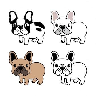 Karikatur der französischen bulldogge