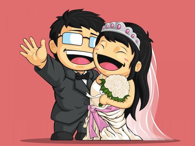 Karikatur der glücklichen braut und des bräutigams