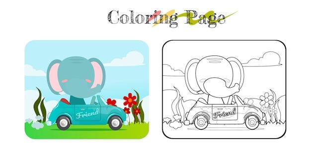 Karikatur der lustigen giraffe auf blauem auto mit naturhintergrundmalbuch oder seitenprämienvektor