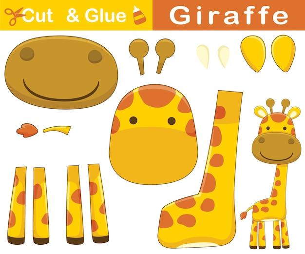 Karikatur der lustigen lächelnden giraffe. bildungspapierspiel für kinder. ausschnitt und kleben