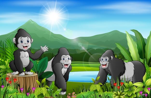 Karikatur der naturlandschaft mit gorillagruppe