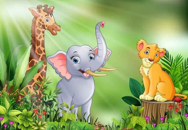 Karikatur der naturszene mit verschiedenen tieren