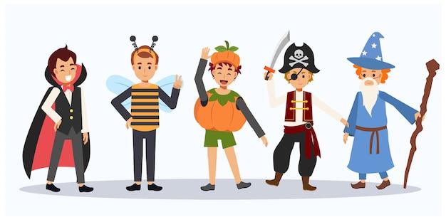 Karikatur der niedlichen halloween-charaktere. kinder im halloween-kostüm. halloween kinder. gruppe von jungen im halloween-kostüm. Premium Vektoren