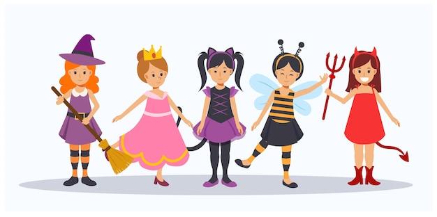 Karikatur der niedlichen halloween-charaktere. kinder im halloween-kostüm. halloween kinder. gruppe von mädchen im halloween-kostüm.