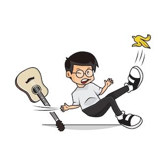 Karikatur der niedlichen jungen-haltegitarre auf banane gerutscht