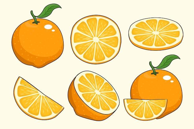 Karikatur der orangenfruchtsatzkollektionen
