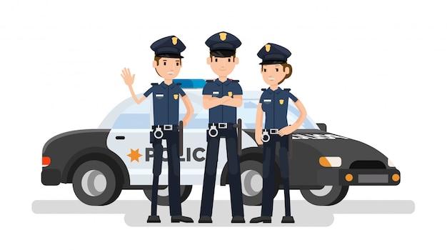 Karikatur der polizeibeamtengruppe mit dem auto hinten
