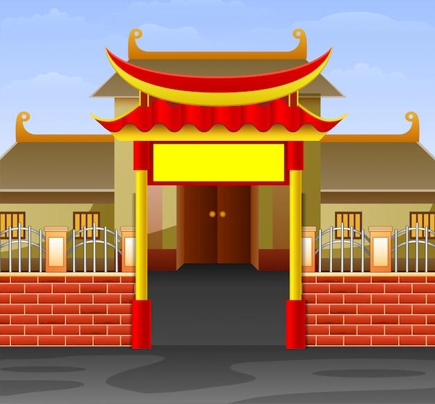 Karikatur der schönen ansichten des tempelgebäudes