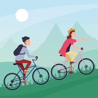 Karikatur der sportlichen tätigkeit des sports im freien