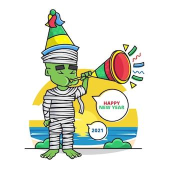 Karikatur der süßen mumie tragen sie einen partyhut und blasen sie die trompete, die ihnen ein frohes neues jahr 2021 wünscht