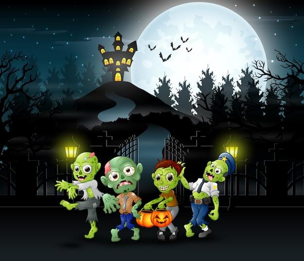 Karikatur der zombiegruppe auf dem halloween