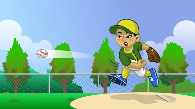 Karikatur des asiatischen jungenbaseballspielers auf dem feld