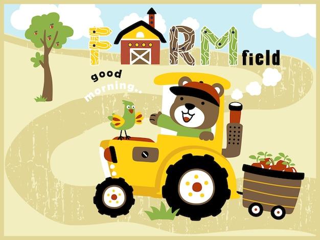 Karikatur des bauernhoffeldes mit gelbem traktor mit lustigem landwirt